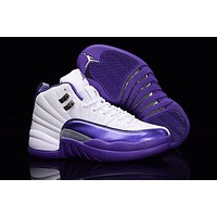 Air Jordan 12 Gs Purple White Aj 12 Women Basketball Shoes