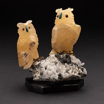 Polished Hand Carved Orange Calcite Wise Owls on Quartz Crystal Matrix