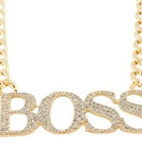 Goldtone with Clear Iced Out Large Boss Pendant with a 16 Inch Adjustable Cuban Chain Necklace
