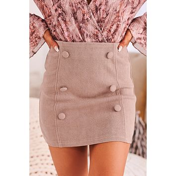 All Of Me Button Trim Mini Skirt (Taupe)