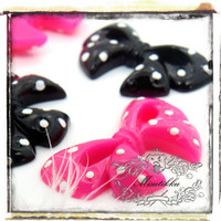 6 PCS X 62mm ( Pick Your Color ) Black Ribbon Cabochon Pink Bow Cabochons with Dots Resin Flat Back For Diy Bling Rhinestone Case (BW08)