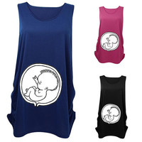 New Arrivals Women's Pregnant T-shirt Maternity Shirt Sleeveless Vest Baby Patterns Cotton Size M L XL KD6 Free Shipping