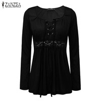 ZANZEA Women 2016 Autumn Sexy Blouses V Neck Long Sleeve Lace Patchwork Solid Blusas Tops Casual Plus Size Blouses Oversized