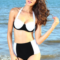 Black and White Halter Tie High-Waisted Bikini