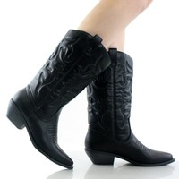 Women's Fashion Vegan Pointy Toe Embroidered Western Boots BLACK PU (10)