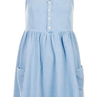 Petite MOTO Denim Babydoll Dress - Bleach Stone