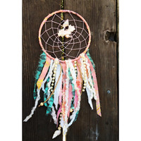 CORAL - Beach House Dreamcatcher, Pink Pearl Bohemian Home Decor, Aqua, Teal Beach Mini Wedding Gift