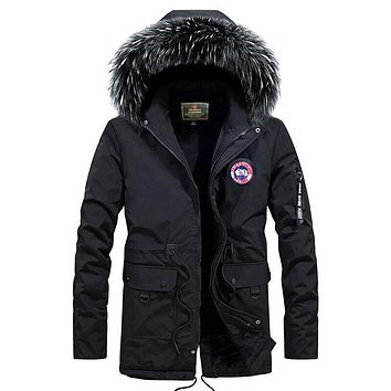 New Design Plus size S-4XL Long Winter Men Jacket With Fur Hood Men's Clothing Casual Jackets Thickening Parkas Male Coat