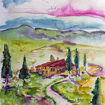 Holiday In Tuscany Italy Original Watercolor & Ink 24 by 18 inch by Ginette