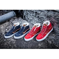 2016 Winter Shoes With Velvet Newest High Top Casual Vans Canvas Shoes Red Blue Women And Mens Sneakers Skateboarding Shoes C