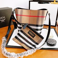 BURBERRY Fashion Women Shopping Bag Canvas Classic Plaid Bucket Bag Crossbody Satchel Shoulder Bag Purse Set Two Piece