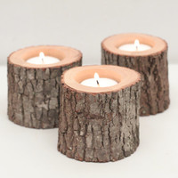 Tree Branch Candle Holders Set of 3 Short- Rustic Wood Candle Holders, Wooden Candle Holders, Woodland Wedding