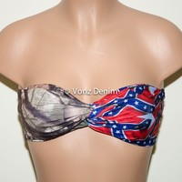 PADDED Multi Color Print and Camo Bandeau Top, Rebel Flag Twisted Spandex Bandeau Bikini
