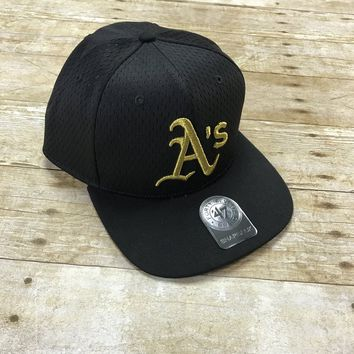 Official MLB Oakland Athletics Black A's Gold Stitched Snapback Hat