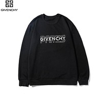Givenchy 2019 new cotton pullover round neck long-sleeved sweater Black