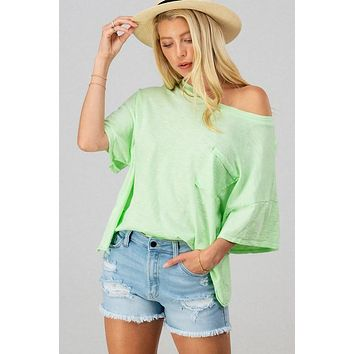 Vintage Oversized Cropped Pocket Tee in LIME