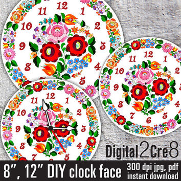 Clock face Traditional Hungarian Kalocsai folk art style  - Digital Downloads - DIY - Printable Image - Wall Decor - Crafts - jpg+pdf