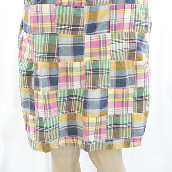 Chadwick's Madras Plaid Pencil Skirt - Size 10