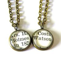 Holmes and Watson Matching Sherlock Best Friend Necklaces Vintage Library Card Charms - Set of 2 (TWO)