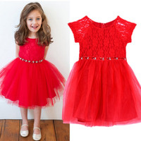 Kid Girls One Piece Party Holiday Dress Red Lace Tulle Gauze Tutu Dress 2-6 Years FD28 NW