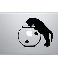 Cat & Fish Bowl Macbook Laptop Decal Sticker by graefik on Etsy