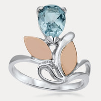 925 Silver w/ Gold Overlay Ring with Blue Topaz