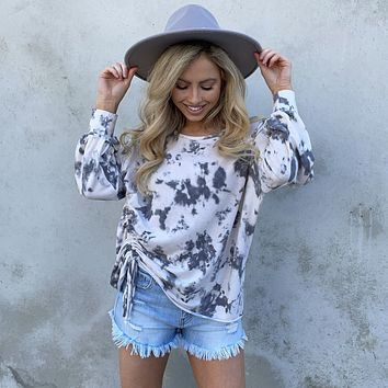 Cinched To The Side Tie Dye Sweater Top