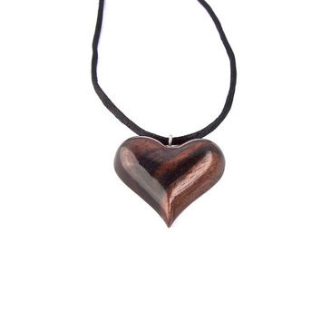 Wooden Pendant, Wooden Heart, Heart Necklace, Wood Heart Pendant, Heart Carved Pendant, Wood Jewelry, Hand Carved Pendant, Wooden Necklace