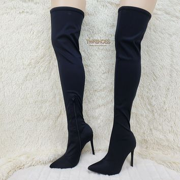 Mark Black Stretch Pointy Toe Stocking High Heel Thigh High Boots 7-11