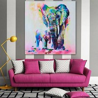Multicolor Elephant Pattern Canvas Painting Frameless Pictures Living Room Decor
