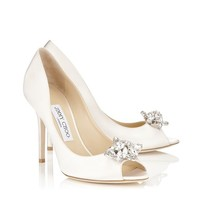 Ivory Silk Satin Peep Toe Pumps with Crystal Detail | Mia | Bridal Collection | JIMMY CHOO Sale