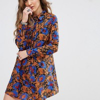 Glamorous Swing Dress With Tie High Neck In All Over Print at asos.com