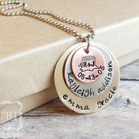 Mixed Metal Stacked Mother's Necklace - Family Necklace - Grandmother Jewelry