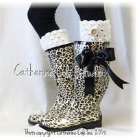 LEOPARD PRINT rubber rainboots w black satin bow wellies muck boots womens cheetah rain boots wellingtons boots Catherine Cole Studio RB2