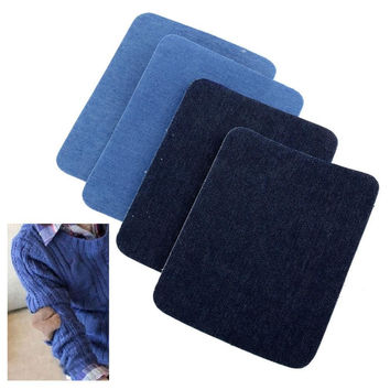 2PCS Iron On Denim Jeans Patches Repairs Sewing Cloth Fabric Cowboy Applique Light sewing tool