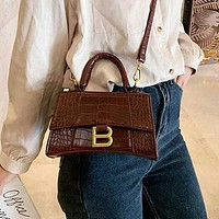 Balenciaga vintage stone pattern ladies one shoulder messenger bag