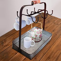 AMC0018 Rustic Style Galvanized Metal Crockery Holder with Six Cup Hooks, Gray