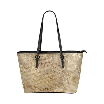 Tan Tote Shoulder Bag with Classical Musical Notes Design