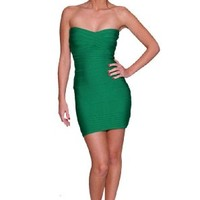 Beautifly Women's Forest Green Lux Bandage Cocktail Dress