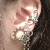 Stardust Steampunk Ear Cuff - Silver Crystals and Stars