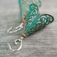 Patina Earrings, Green Verdigris, Dangle Chandeliers, Vintage Jewelry, Sterling Silver, Rustic Copper, Filigree Brass, Subtle Statement
