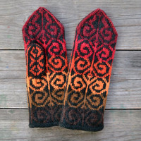 Wool Mittens - Fall Gloves - Red and Orange Tones Mittens - Gift Ideas for Her - Winter Accessories - Bohemian Accessories