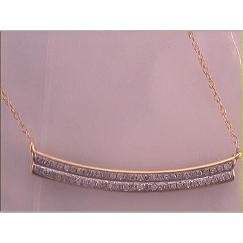 10k Yellow Gold Diamond Bar Pendant Necklace 1/6 Cttw