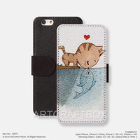 Cat kiss fish iPhone Samsung Galaxy leather wallet case cover 073