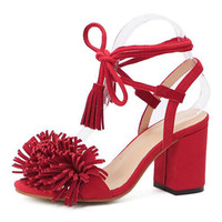 Red Tassel Detail Ankle Lace Up Block Heeled Sandals