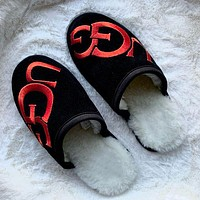 UGG embroidered letters new product Baotou slippers sandals Boots Shoes