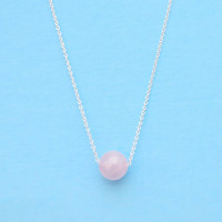 Rose quartz, Round ball, Gold filled, Sterling silver, Necklace, Birthday, Lovers, Best friends, Sister, Mother, Gift