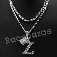 King Crown Z Initial Pendant Necklace Set. (Silver)