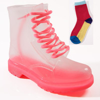 NEW LADIES WOMENS JELLIES JELLY FESTIVAL CLEAR DOC ANKLE BOOTS SHOES SIZE 3-8