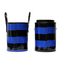 3 Colors Empty Stripe Makeup Brush Case Cosmetic Tool Cup PU Leather Container Portable